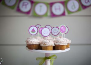 watermelon banner and watermelon cupcakes