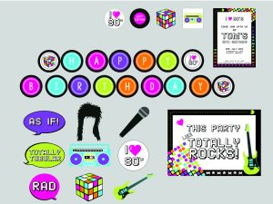 80's party supplies music party printables