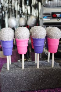 microphone cake ball pops at a hip hop party