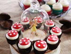 mushroom cupcakes at a woodland fairy party