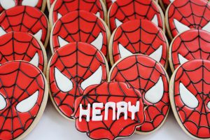 spiderman cookies at a spiderman party