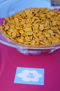 pig feed snack at a peppa pig party