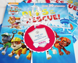 paw patrol favors with paw patrol favor tag