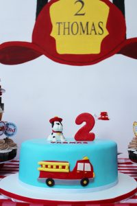 firetruck cake at a fireman birthday party