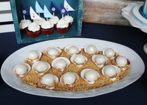 Nautical party desserts pearl cake balls