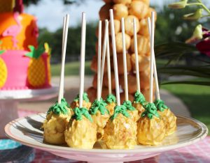 pineapple cake balls at a flamingo birthday party