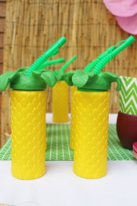 pineapple cups at a hawaiian birthday party