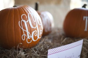personalized pumpkin party favors at a pumpkin birthday party