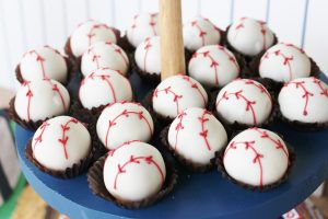 baseball cake balls at a baseball birthday