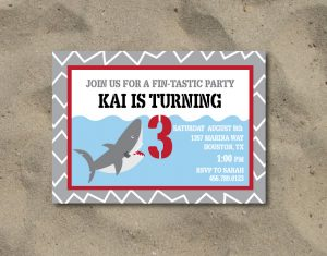 shark invitation for a shark party