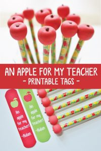 an apple for my teacher gift tags