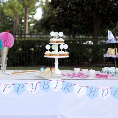 Teal and Pink Ice Cream Shoppe Party Theme