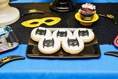 batman birthday party cookies