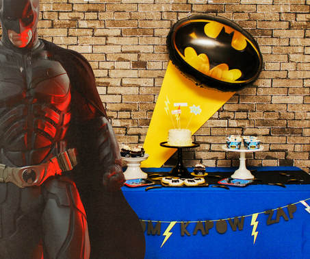 batman birthday party dessert table