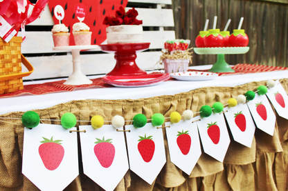 strawberry birthday party supplies and strawberry banner