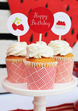 strawberry cupcake toppers