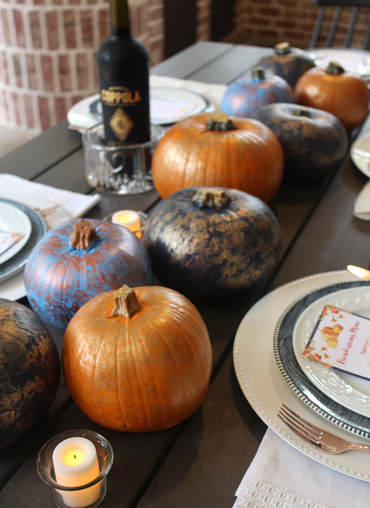 painted pumpkin centerpieces for friendsgiving