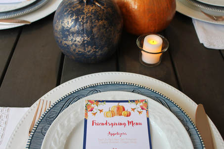 floral pumpkin menu for friendsgiving
