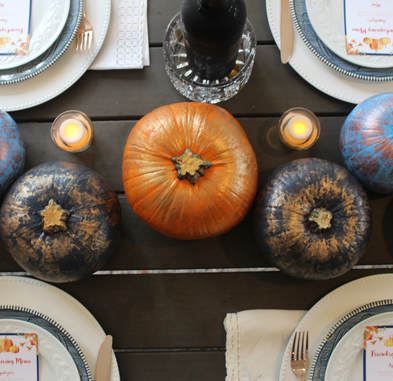 painted pumpkin centerpieces for a friendsgiving