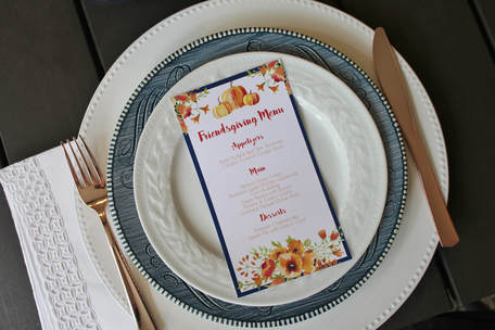 pumpkin menu cards for a friendsgiving