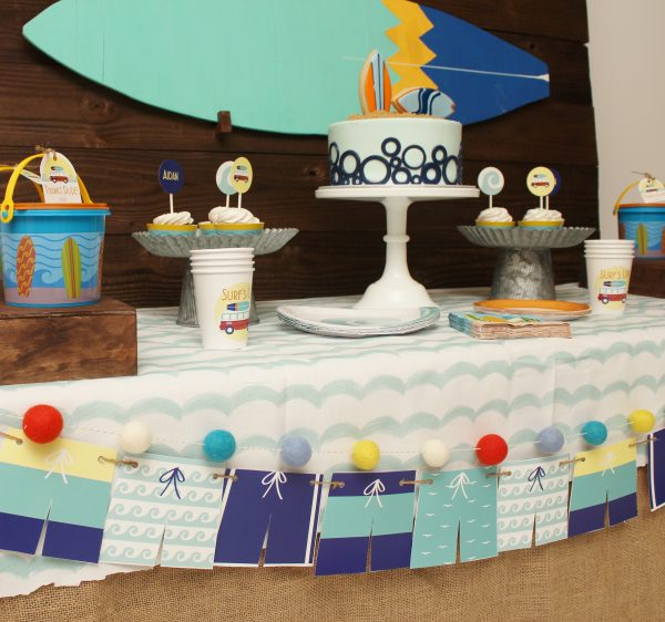 surfer party ideas and surfer party supplies
