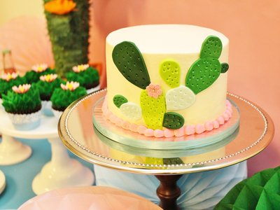Cactus birthday party cake