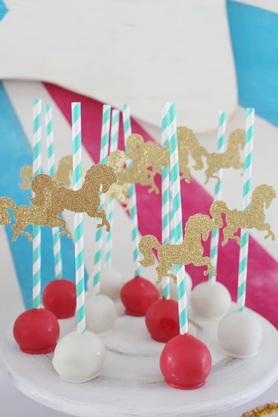 carousel cake ball pops at a circus birthday party