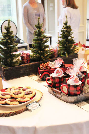 So We Ancd Our Cookie Exchange And Coffee Party Decorations Around Traditional Buffalo Plaid Accents