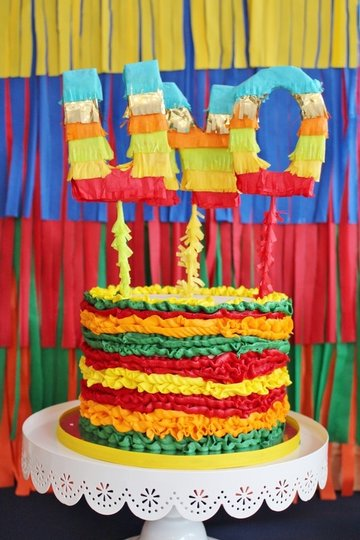 fiesta cake with UNO topper