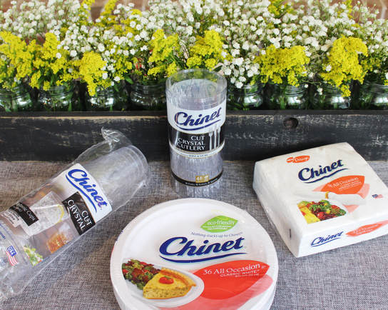 Backyard BBQ paper plates and cups from Chinet