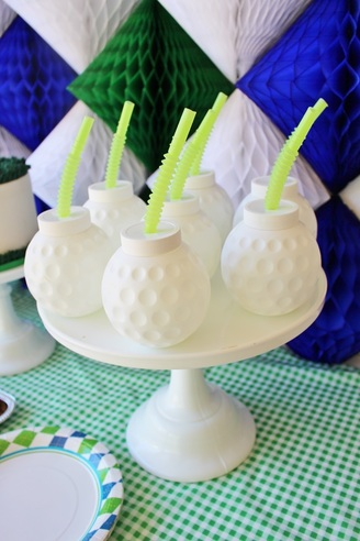 golf ball sippy cups at a golf birthday party