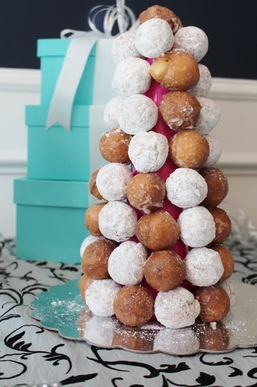 donut tower at a tiffany birthday party