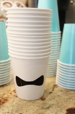 bow tie cups at a tiffany birthday party