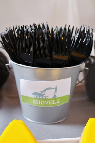 shovels label at a construction birthday party
