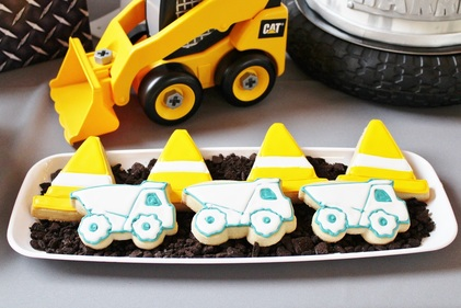 construction cookies at a construction birthday