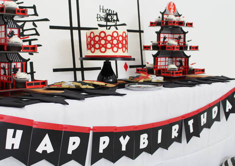 ninja birthday party with happy birthday banner