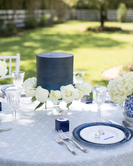 blue and white bridal shower