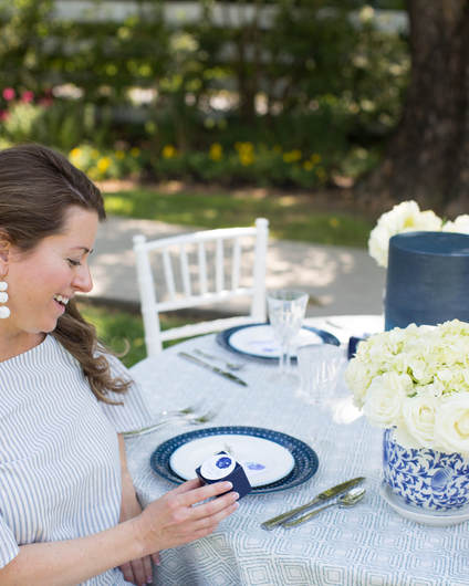 blue and white garden bridal shower