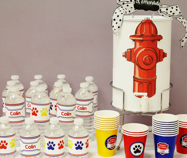 Paw Patrol party water bottles