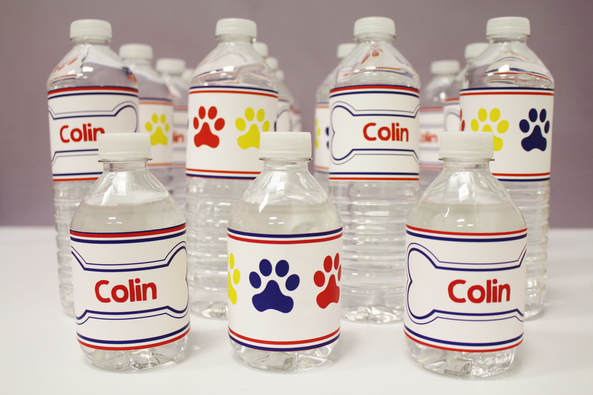 Paw patrol personalized water bottle labels