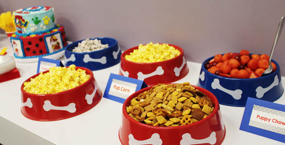 Paw Patrol birthday party snacks with labels