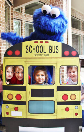 Cookie Monster with school bus photo prop