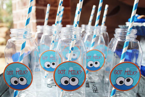 Got Milk Stickers on Bottles for Cookie Monster Party