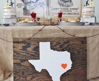 texas wooden signage at a cowboy party