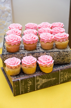 rose cupcakes at a beauty and the beast party