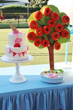 peppa pig party ideas and donut tree