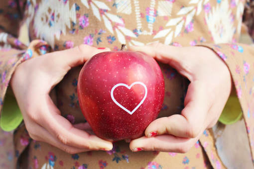 Red Apple with White Imprinted Edible Heart