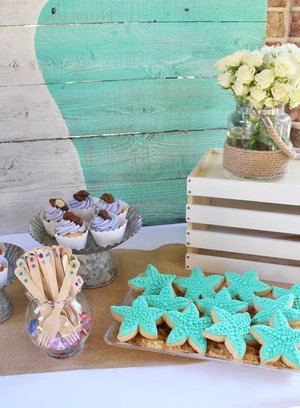 mermaid party ideas and starfish cookies
