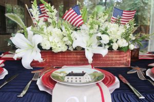 patriotic farmhouse centerpiece