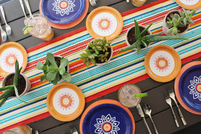 Colorful Fiesta Tablescape with Succulent Centerpieces